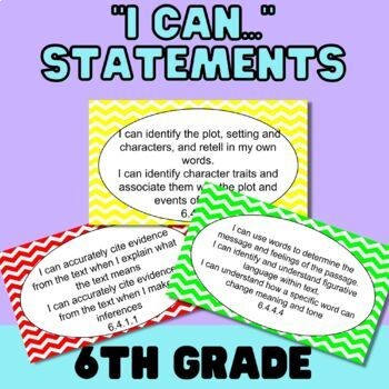"""""""I Can..."""" Statements for MN ELA Standards-Grade 6"""