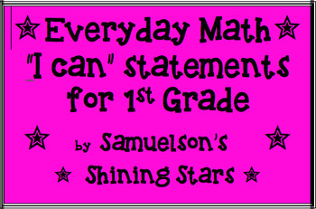 """I Can"" Statements for MN Math Standards and Everyday Math- Chapters 1-9"