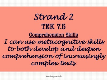 """""""I Can Statements"""" for New ELAR 7th Grade TEKS"""