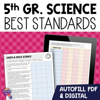 """""""I Can"""" Student Checklists 5th Grade NGSSS Science Florida Standards"""