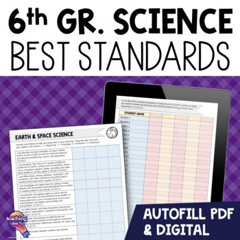 """""""I Can"""" Student Checklists 6th Grade NGSSS Science Florida Standards"""