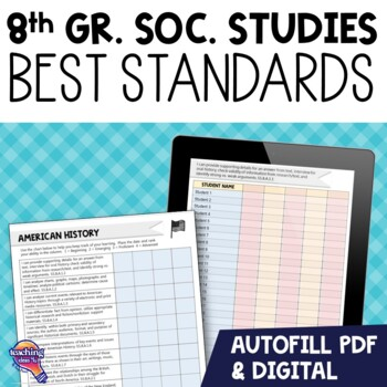 """""""I Can"""" Student Checklists 8th Grade American History Florida Standards"""