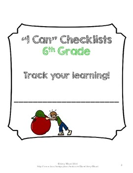 """I Can"" Student Checklists for Core Subjects 6th Grade Florida Standards"