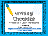 """I Can"" Writing Checklist"