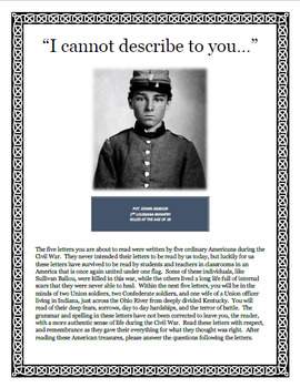 Close Reading Civil War Letters (Primary Source) for Middle & High School