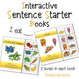 """I Eat"" Interactive / Adapted Sentence Starter Book - spec"