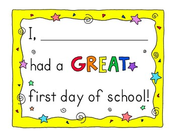 """I Had a Great First Day of School"" Template"