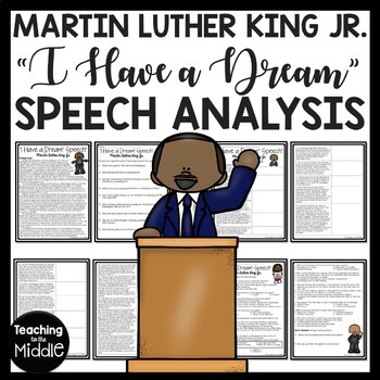 """""""I Have A Dream"""" Speech Analysis Worksheet, Martin Luther King Jr."""