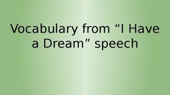 """""""I Have A Dream"""" Vocabulary Presentation with Biblical Integration"""