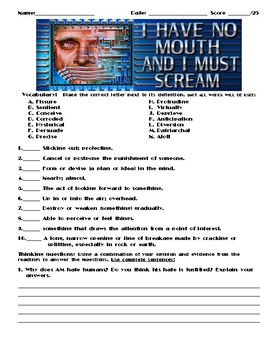 I Have No Mouth, and I Must Scream by Harlan Ellison Assignment