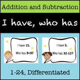 """""""I Have, Who Has"""" Addition and Subtraction Sets, 1-24"""