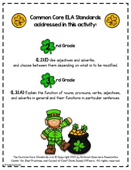 I Have, Who Has - Adjectives - St. Patrick's Day Parts of Speech