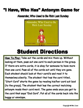 """""""I Have, Who Has"""" Antonym Game for """"Alexander, Who Used to Be Rich Last Sunday"""""""