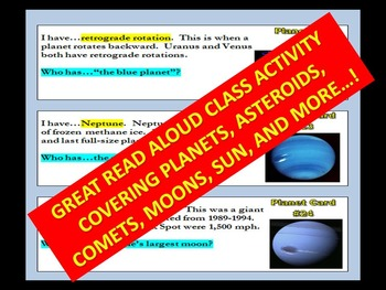 """""""I Have...Who Has"""" Cards : SPACE AND PLANETS (with webquest / Kagan Strategy)"""