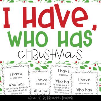 """""""I Have, Who Has?"""" - Christmas Vocab"""