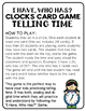 """""""I Have, Who Has?"""" Clocks Card Game - Telling Time"""