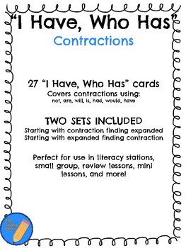 """""""I Have, Who Has"""" Contractions Card Game"""