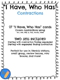 """I Have, Who Has"" Contractions Card Game"