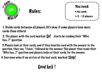 """I Have... Who Has?"" Game - Multiplication 1 x 1 - 9 x 9"