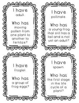"""""""I Have, Who Has?"""" - Life Cycles Vocab"""
