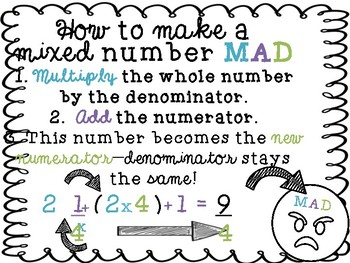 """""""I Have..Who Has?"""" Mixed Number to Improper Fraction Game"""