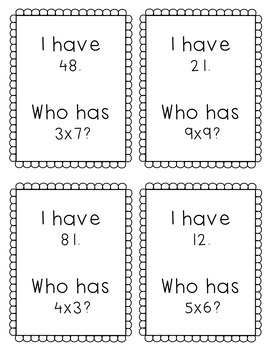 """""""I Have, Who Has?"""" - Multiplication Facts 0-10"""