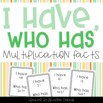 """I Have, Who Has?"" - Multiplication Facts 0-10"
