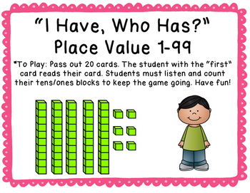 """I Have, Who Has?"" Place Value 1-99"