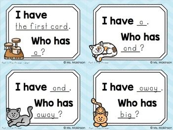 """""""I Have, Who Has?"""" Pre-Primer Words 1-20"""