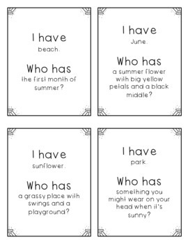 """""""I Have, Who Has?"""" - Summer Vocab"""