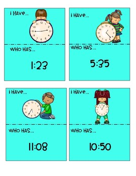 """"""" I Have, Who Has""""-Telling Time to the Nearest Minute"""