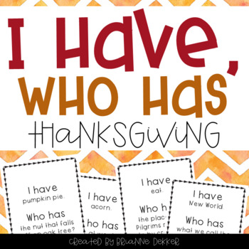 """I Have, Who Has?"" - Thanksgiving Vocab"