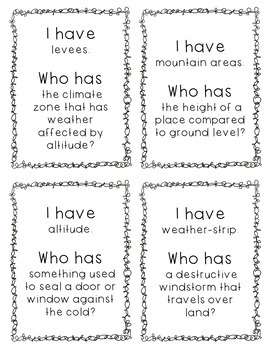 """""""I Have, Who Has?"""" - Weather Vocab"""