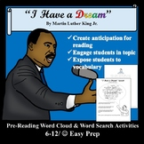 """""""I Have a Dream""""- Pre-Reading Word Cloud & Word Search Activities"""