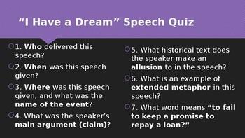 """""""I Have a Dream"""" Small Quiz"""