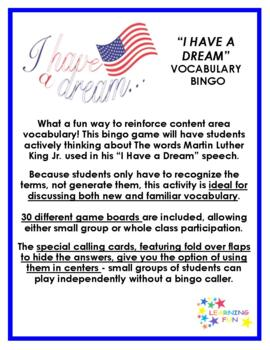 """""""I Have a Dream"""" speech by Martin Luther King Jr. Vocabulary Bingo"""