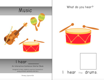 """""""I Hear"""" Interactive / Adapted Sentence Starter Book - special education"""