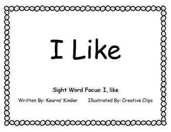 """I Like"" Sight Word Book"