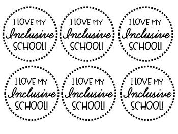 """I Love My Inclusive School!"" Button FREEBIE"
