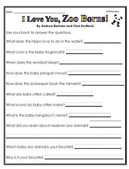 """I Love You, Zoo Borns!"" Activities for Reading, Writing, & Comprehension"