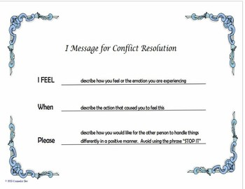 """""""I Message"""" Poster for Conflict Resolution Counseling PBIS 8.5 x 11"""