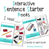 """""""I Need"""" Interactive / Adapted Sentence Starter Book - spe"""