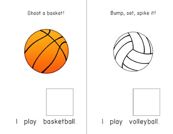 """""""I Play"""" Interactive / Adapted Sentence Starter Book - special education"""