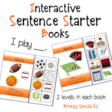 """""""I Play"""" Interactive / Adapted Sentence Starter Book - spe"""