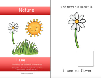 """""""I See"""" Interactive / Adapted Sentence Starter Book - special education"""