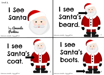 """I See Santa"" December Christmas Leveled Sight Words 4 Mini-Books"