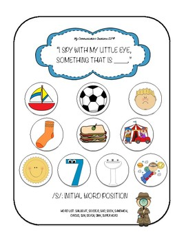 'I Spy' Articulation Worksheets for /S/ – All Word Positions SLP Speech Therapy