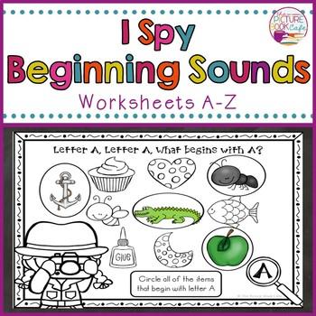 """""""I Spy"""" Beginning Sounds Worksheets"""