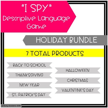 """I Spy"" Descriptive Language Games Holiday Bundle"