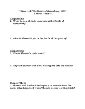 """""""I Survived the Battle of Gettysburg"""" Comprehension Questions"""